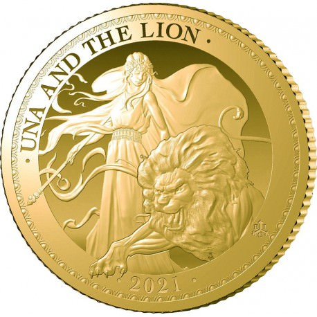 ST HELENA 1/4 oz GOLD UNA and the LION 2021 £2 PROOF