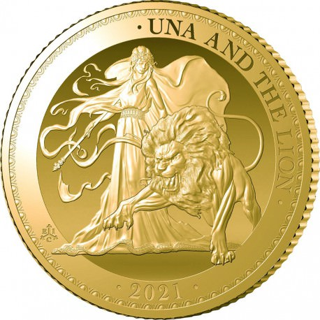 ST HELENA 1 oz GOLD UNA and the LION 2021 £5 PROOF