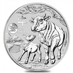 PM Lunar 3 OX 1 oz silver 2021 BU Privy DRAGON $1 Australia