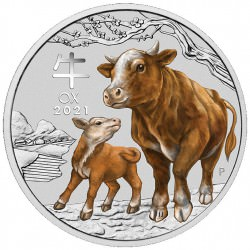 PM Lunar 3 OX 1 oz silver 2021 BU $1 Australia Coloured