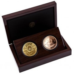 South Africa 2 Coin Gold Set Buffalo & Krugerrand with Buffalo Privy Proof Box + Coa 50 Rand