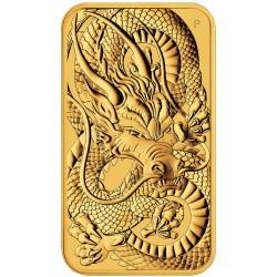 Perth Mint 1 oz RECTANGLE DRAGON $100 BAR 2021 GOLD