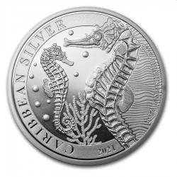 1 oz silver Caribbean Seahorse 2021 Barbados $1