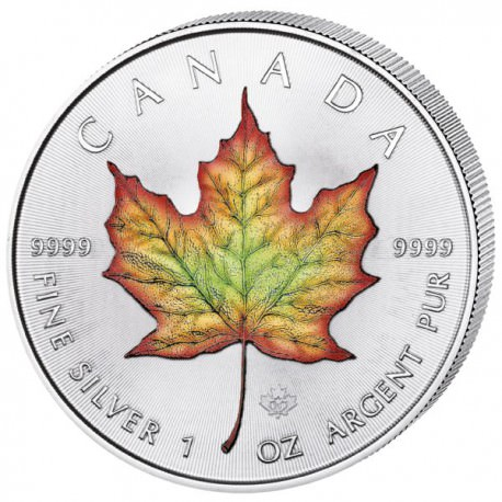 1 oz silver MAPLE LEAF 2021 coloured $5