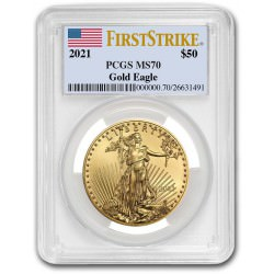 1 oz gold EAGLE 2021 PCGS MS-70 First Strike $50