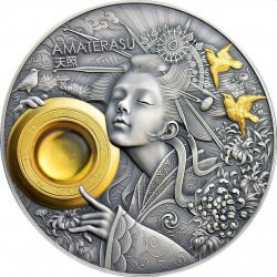 Niue 3 oz silver AMATERASU DIVINE FACE OF THE SUN 2021 AMBER Box + Coa