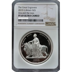 UK 2 oz silver The GREAT ENGRAVERS 2019 WILLIAM WYON £5 UNA & THE LION Proof NGC PF69