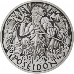PM 5 oz silver GODS OF OLYMPUS 2021 POSEIDON ANTIQUED $1 MINTAGE 50 !