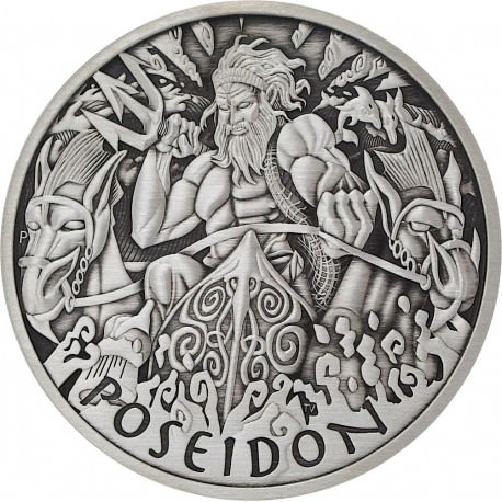 PM 5 oz silver GODS OF OLYMPUS 2021 ZEUS ANTIQUED $1 MINTAGE 50 !
