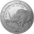 Ghana 1 oz silver GIANTS of the ICE AGE 2021 CAVE BEAR 5 Cedis
