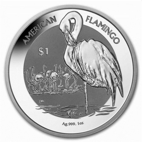 1 oz silver FLAMINGO 2021 $1 Barbados BU