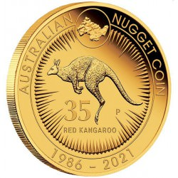35th Anniversary of the Australian Kangaroo Nugget 2021 1/4oz Gold Proof Coin