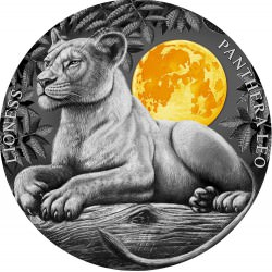Niue Wildlife In The Moonlight 2 Oz Silver LIONESS 2021 $5