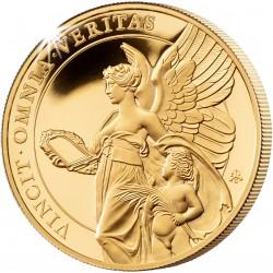 ST HELENA 1 oz GOLD The QUEEN'S VIRTUES TRUTH 2021 £100 proof VINCIT OMNIA VERITAS