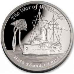 PM Tuvalu 1 oz silver HMS THUNDERCHILD 2021 Proof WAR OF THE WORLDS
