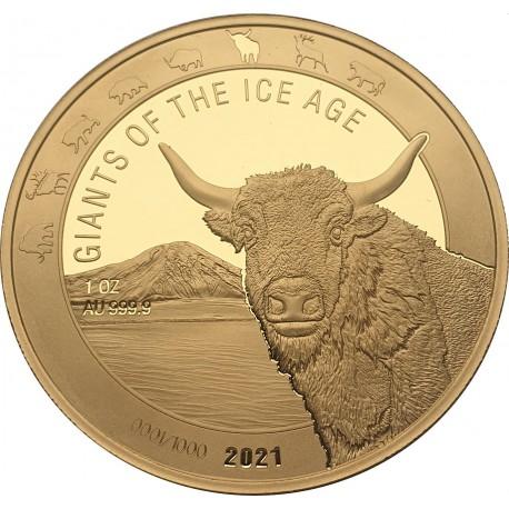 Ghana 1 oz GOLD GIANTS of the ICE AGE 2021 WOOLLY RHINO 500 Cedis