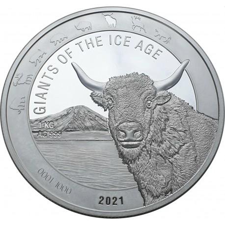 Ghana 1 kilo silver WOOLLY RHINO 2020 BU 1000 CEDIS