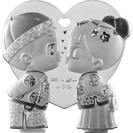 Niue ST VALENTINE DAY 1/2 oz silver FALL IN LOVE AT KISS 2021 Chinese Garment Proof Box + Coa
