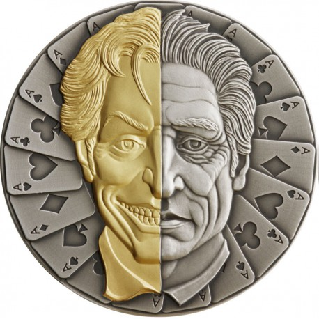 Niue 2 oz silver THE JOKER MASK 2021 Playing cards Antique Finish