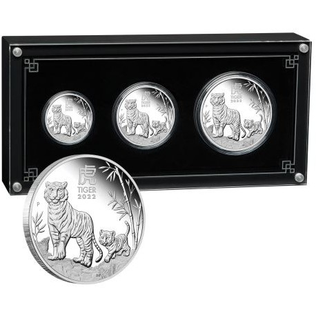 Australian Lunar Series III 2022 Year of the Tiger Silver Proof Three-Coin Set