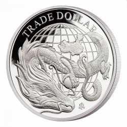 1 oz silver MODERN CHINESE TRADE DOLLAR St HELENA 2021 £1 Proof Box + Coa