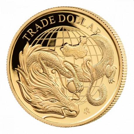1 oz GOLD MODERN CHINESE TRADE DOLLAR St HELENA 2021 £5 Proof Box + Coa