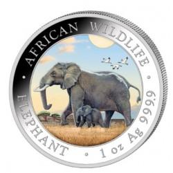 1 oz silver SOMALIA ELEPHANT 2022 Shillings 100 Coloured