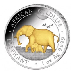 1 oz silver SOMALIA ELEPHANT 2022 Shillings 100 GILDED