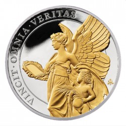 ST HELENA 1 oz silver The QUEEN'S VIRTUES TRUTH 2021 £1 GILDED proof VINCIT OMNIA VERITAS