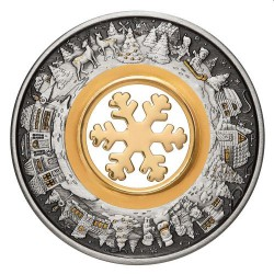 Perth Mint Christmas Wonderland 2021 2oz Silver Antiqued Coloured Coin
