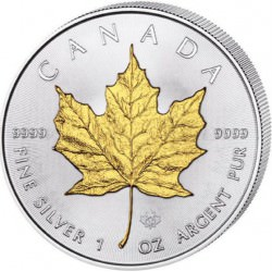 1 oz silver MAPLE LEAF 2016 gilded