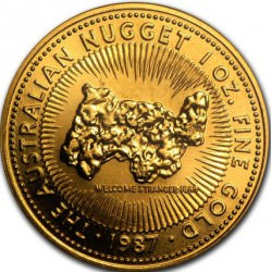 1 oz gold NUGGET 1987 WELCOME STRANGER 1869