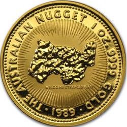 1 oz gold NUGGET 1989 WELCOME STRANGER 1869