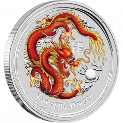 2 oz silver DRAGON 2012 RED
