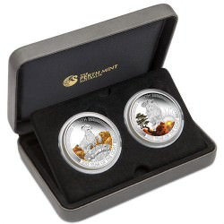 2015 LUNAR GOOD FORTUNE TUVALU 2-coin set 1 OZ SILVER