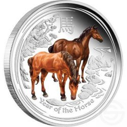 1 oz silver LUNAR HORSE 2014 COLORED