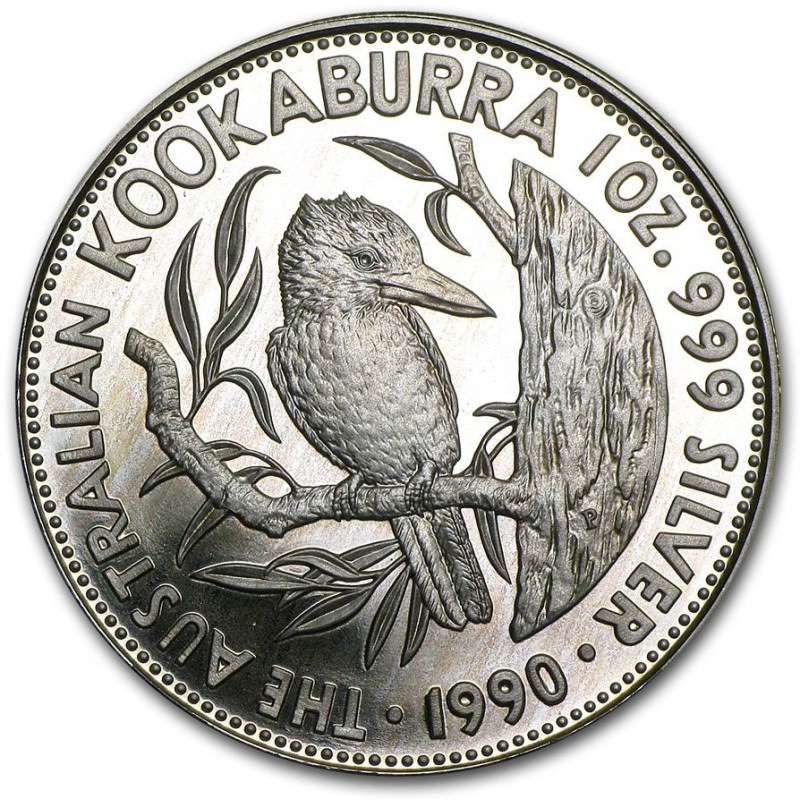 1 Oz Silver Kookaburra 1990 Proof Goldsilver Be