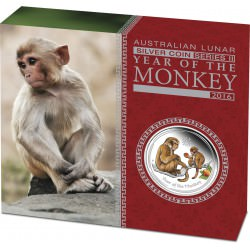 1/2 oz SILVER LUNAR MONKEY 2016 COLOURED