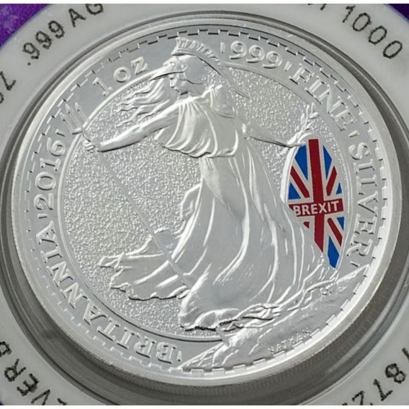 1 Oz Silver Britannia 2016 Brexit Colored Commemorative