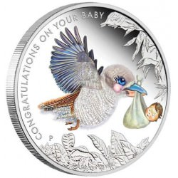 Newborn Baby 2017 1/2oz Silver Proof Coin in Card Birth Kookaburra