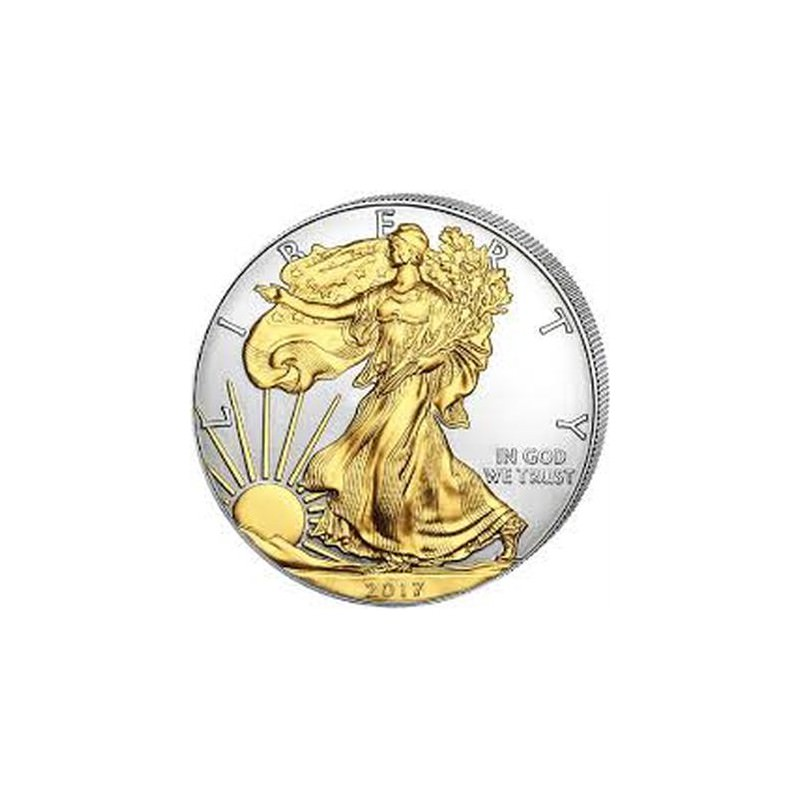 1 Oz Silver U S Silver Eagle 2017 Gilded Goldsilver Be