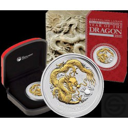 1 oz silver LUNAR DRAGON 2012 GILDED proof