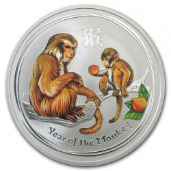 1 kilo silver MONKEY 2016 $30 Colored