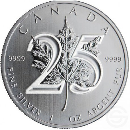 1 oz silver MAPLE LEAF 25th Anniversary 2013