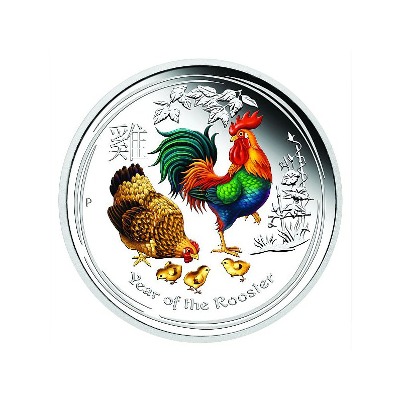 1 4 Oz Silver Rooster 2017 Colored Goldsilver Be