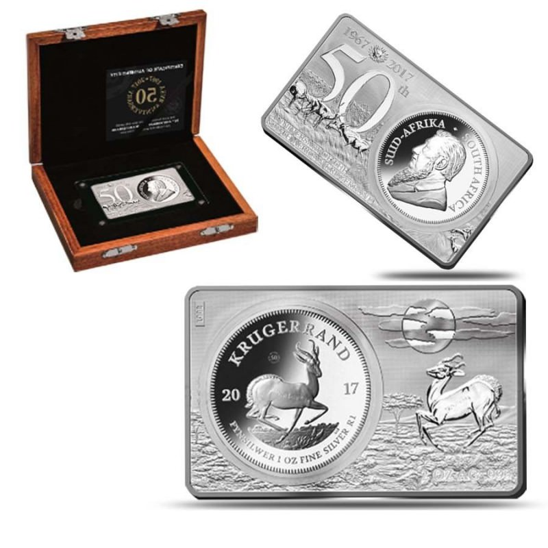 3 oz silver krugerrand 2017 anniversary coin bar set goldsilver be. Black Bedroom Furniture Sets. Home Design Ideas