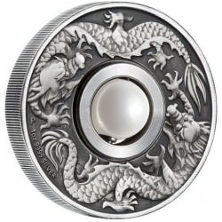 Dragon and Pearl 2017 1oz Silver Antiqued Coin
