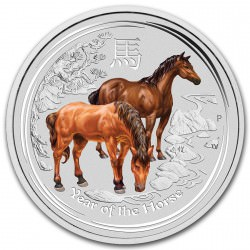 2 oz silver LUNAR HORSE 2014 colored