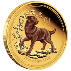 1 oz GOLD LUNAR DOG 2018 proof colored