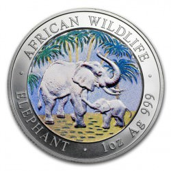 1 oz silver ELEPHANT 2007 colored